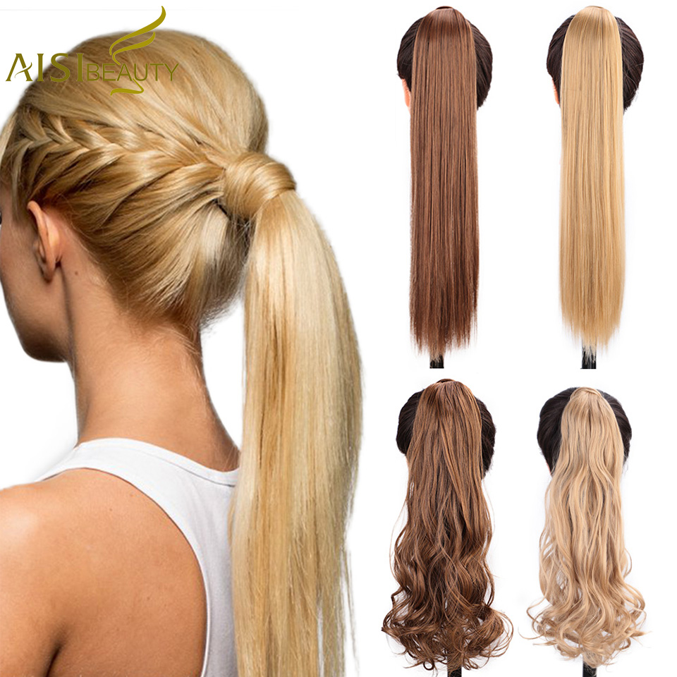AISI BEAUTY Long Straight Ponytail For Women Synthetic Clip In Ponytail Hairpiece With Hairpins Black /Blond Hair Extensions