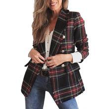 Fashion Plaid Women Blazer Coat Retro Button Lattice Jacket Blazer