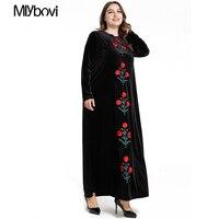 Muslim Abaya Dress Black Velvet Vintage Ethnic Casual Embroidery Dubai Robes Turkey Moroccan Dresses Fall Party Wears