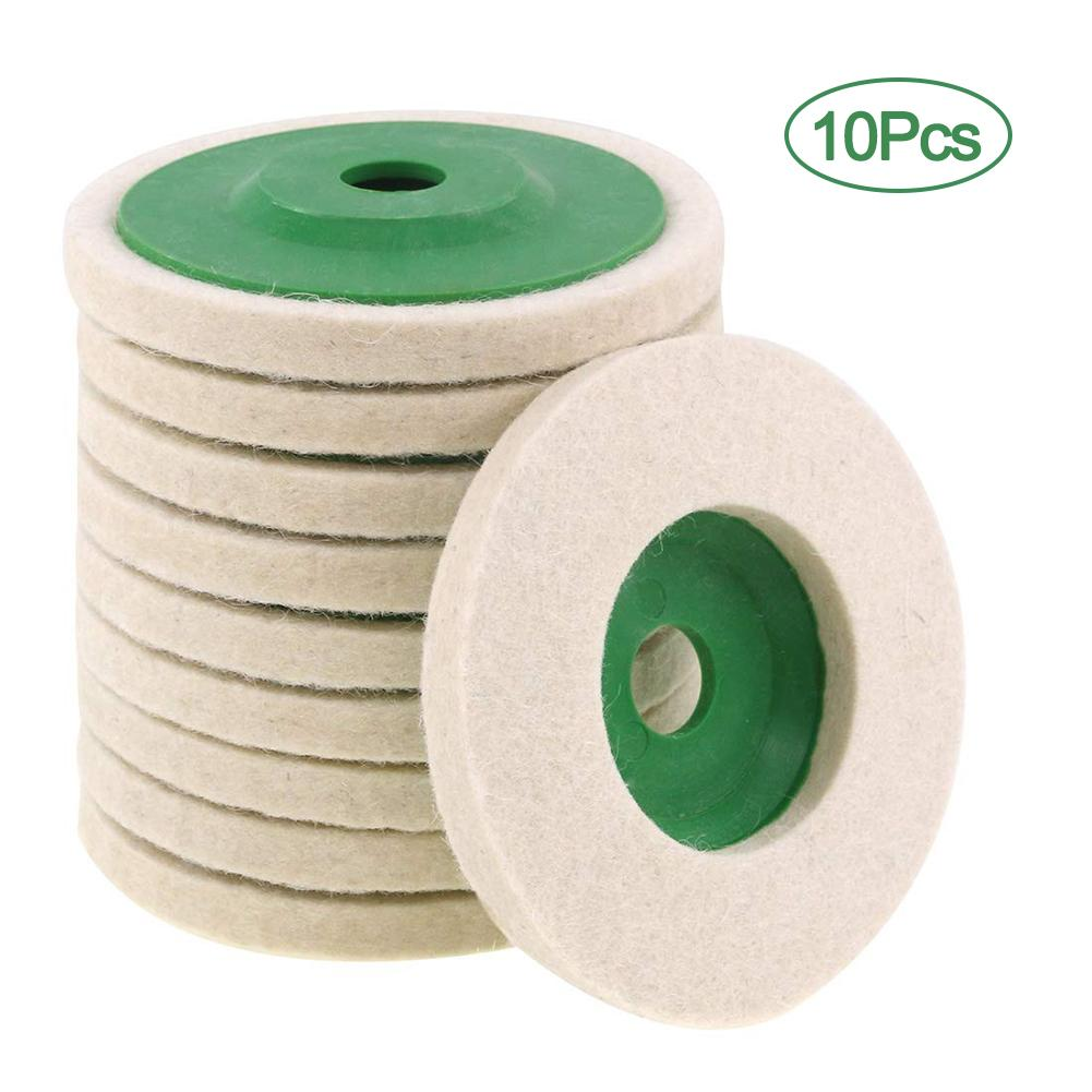 10Pcs 4-inch Wool Polishing Pads Wheel Wear-resistant Grinding Wheels Buffing Pads Felt Polish Disc For Angle Grinder