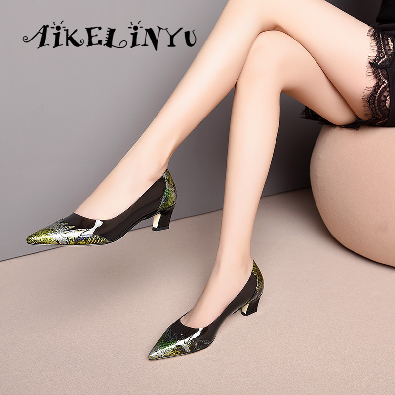 AIKELINYU Fashion Women 39 s Pumps Spring Transparent Serpentine Handmade Genuine Leather Shoes Women Pointed End Lady Office Pumps in Women 39 s Pumps from Shoes