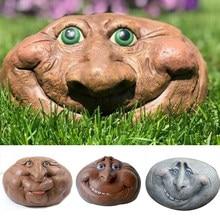 Adornos de resina con cara sonriente para decoración de jardín, piedra de dibujos animados para exterior, patio de casa, LORS889