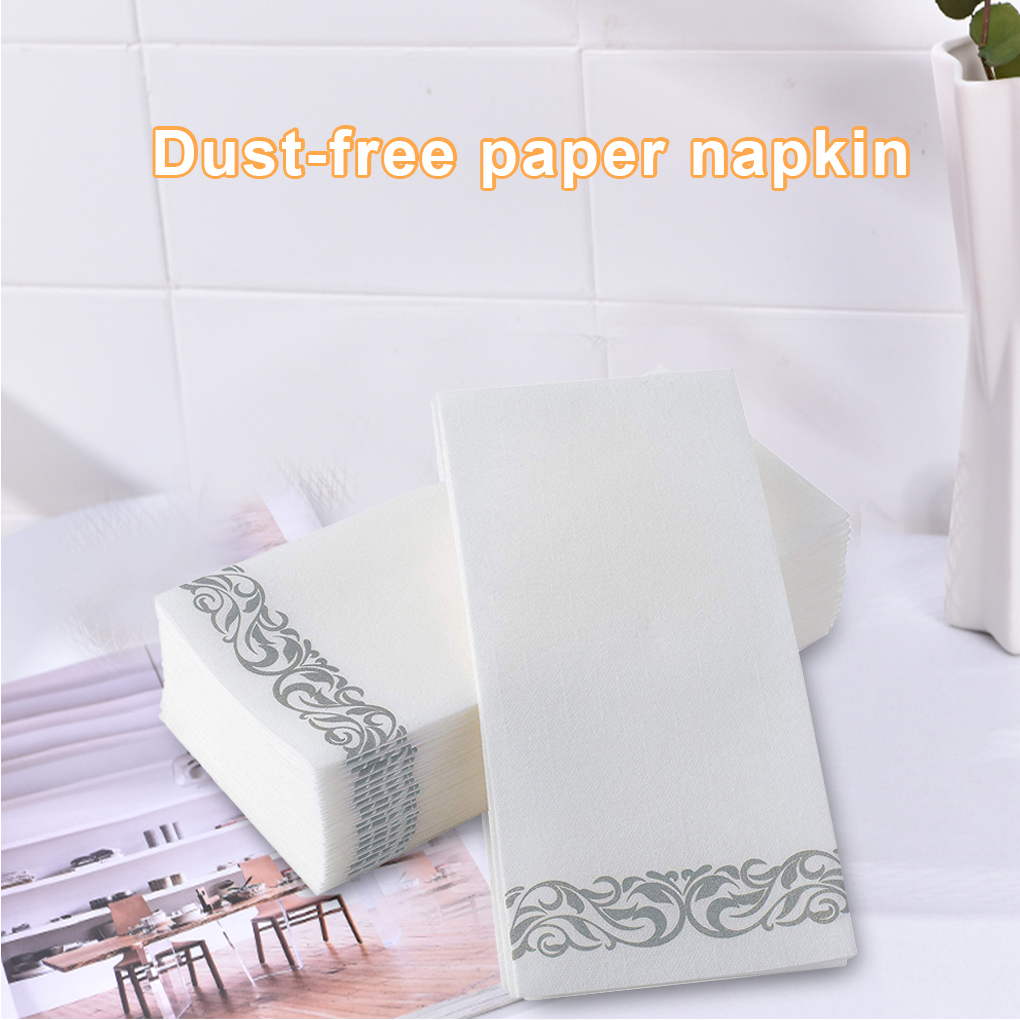 50pcs Wood Pulp Paper Napkin Hotel Restaurant Disposable Decorative Dust Free Paper Towel