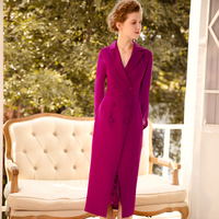 New 2020 spring women elegant dress double breasted notched collar long sleeve lace inset office lady plus size dresses purple