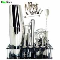 1-14 Pz/set 600 Ml 750 Ml in Acciaio Inox Cocktail Shaker Drink Mixer Bartender Browser Kit Bar Set Strumenti con Il Vino Rack Stand