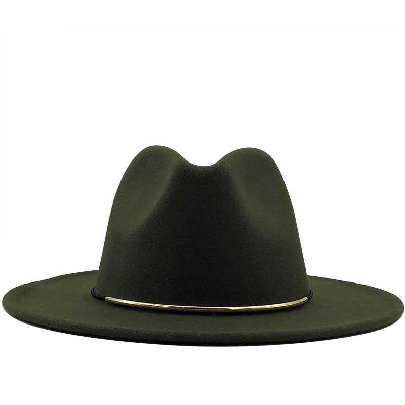 بسيطة الصوف النساء Outback فيدورا قبعة لفصل الشتاء الخريف ElegantLady المرنة قاء زجاجي واسعة حافة الجاز قبعات حجم 56-60 سنتيمتر