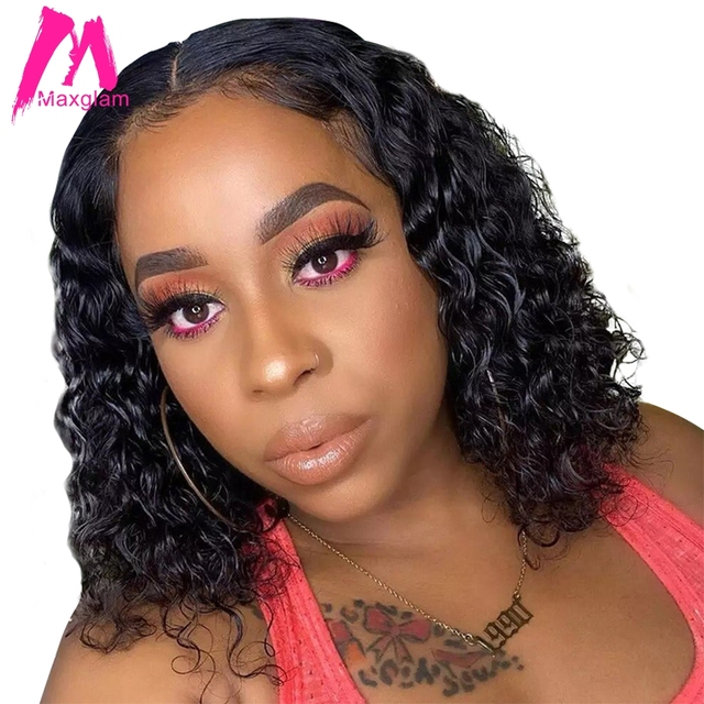 Curly Short Bob Wig Lace Front Human Hair Wigs Brazilian Straight Natural Short Deep Wave Remy Hair Pre Plucked For Black Women