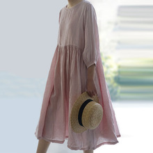 Dresses O-Neck-Pockets Quarter-Sleeve Cotton Linen Spring Summer Solid Johnature Three