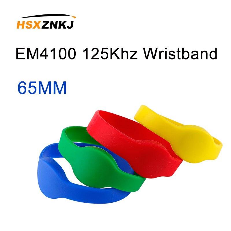 10pcs 125Khz RFID Read Only Bracelet TM4100Read Only EM4100 Input Access Control Card RFID Keyfobs Bracelet Silicone Wristband W