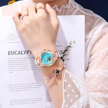 2021 New Designer Mechanical Watches Women Luxury Top Brand Ceramic Stainless Steel Diamond Music Ladies Automatic Wristwatches 5