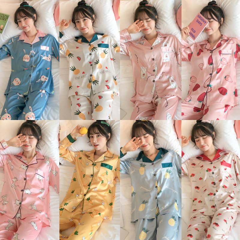 2019 Spring Long Sleeve Pajamas Women's Model Silk Viscose Cardigan Thin Korean-style Fresh Homewear Set