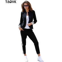TAOVK النساء زي 2 اثنين من قطعة مجموعة كم طويل موقف متابعة طوق بلا أزرار الأسود والأبيض رياضية