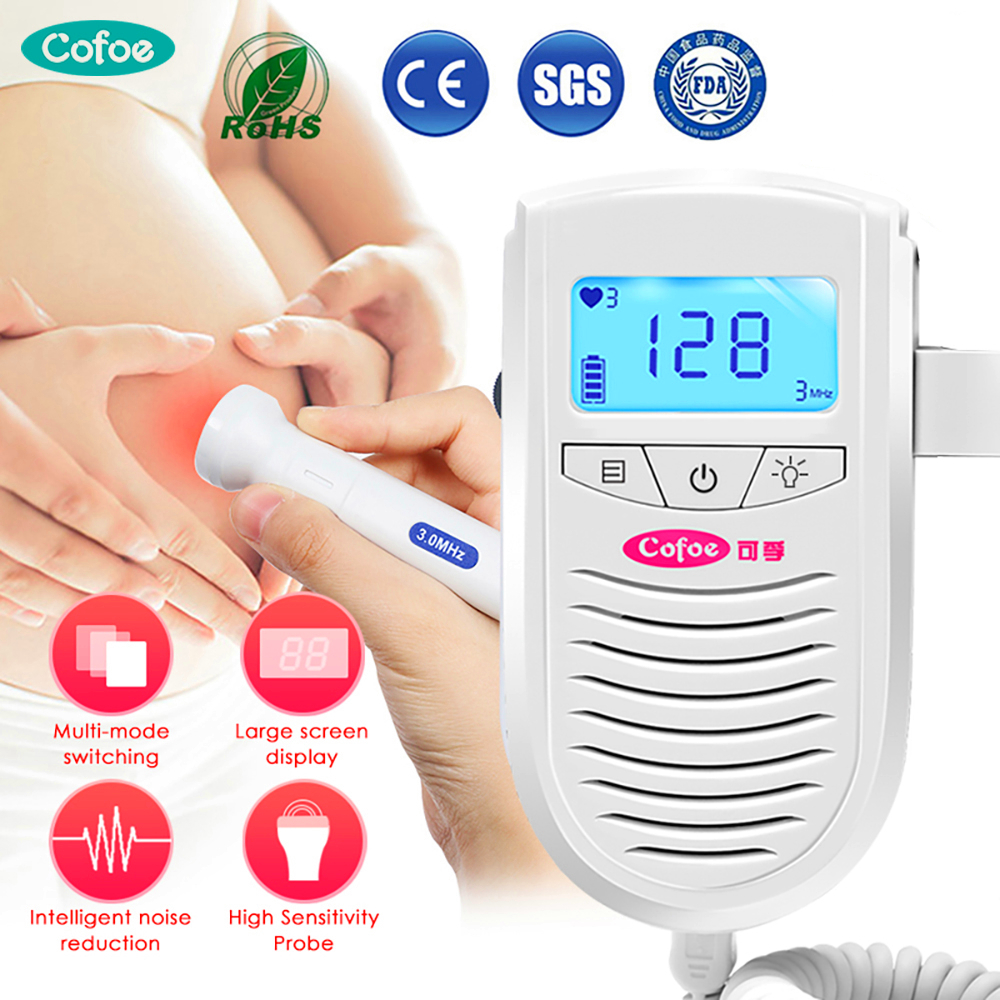 Cofoe Doppler Fetal Ultrasound Baby Heart Monitor Home Pregnant Detector Fetal Sonar Fetal Baby Doppler Heartbeat Pocket Doppler