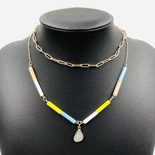 Creative layered women's necklace crystal stick shaped personality pendant boho style fashion necklace