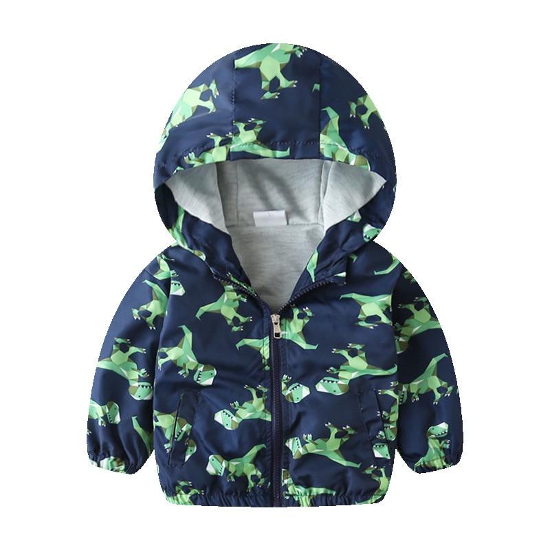 27kids 2-7 Years  Autumn Kid Jacket Children Hooded Coat Boys Outerwear Clothe Spring Windbreaker Toddler Cute Dinosaur 3