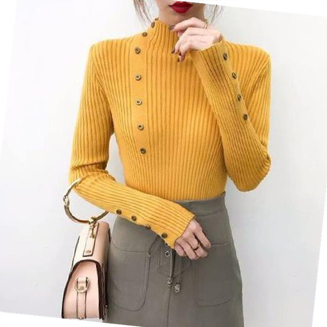 Ailegogo Women Turtleneck Knit Pullovers Spring Autumn Casual Slim Fit Sweater Solid Color Button Ladies Knitwear Korean Tops 3
