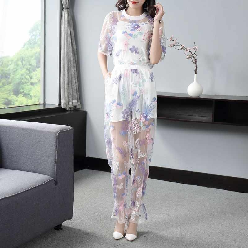 Сексуальные сетчатые прозрачные женские комплекты с цветочной вышивкой из 3 предметов, кружевные футболки с коротким рукавом и круглым вырезом, длинные штаны с эластичной резинкой на талии