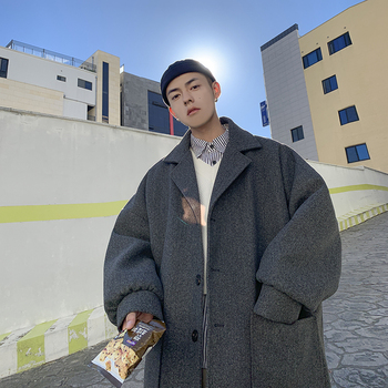 2019 UYUK Winter Japanese Warm Casual Temperament Fashion Super Loose Lapel Men's Woolen Coat Hombre Homme Masculino