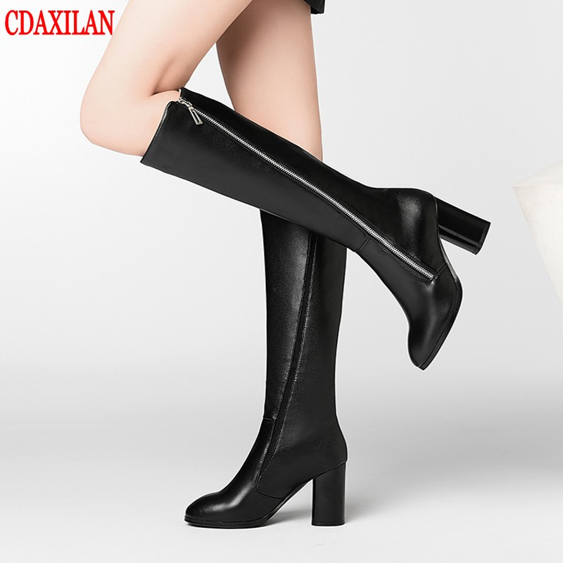 CDAXILAN new to women's boots genuine cow leather high-heels knee-high square heel side zipper ridIng Equestrian boots