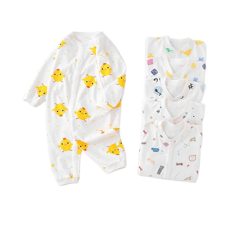 Baby romper suit cotton underwear newborns with long sleeves, baby clothing for men and women pajamas climb clothes during