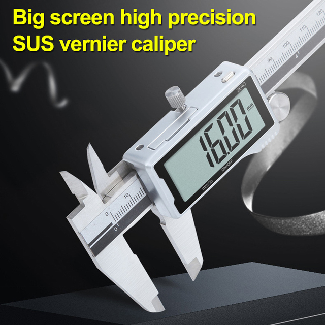 0-200mm High Quality Digital Caliper Vernier Calipers Stainless Steel Large Screen Instrument Measuring Tool