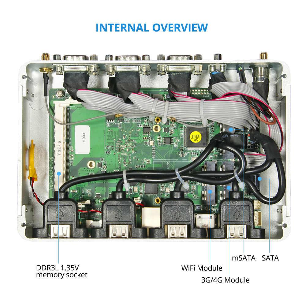 HLY بدون مروحة كمبيوتر صغير سيليرون J1900 2 * جيجابت لان كمبيوتر مصغر لينكس MINIPC ويندوز الصناعية جدار الحماية رقيقة العميل Sobremesa