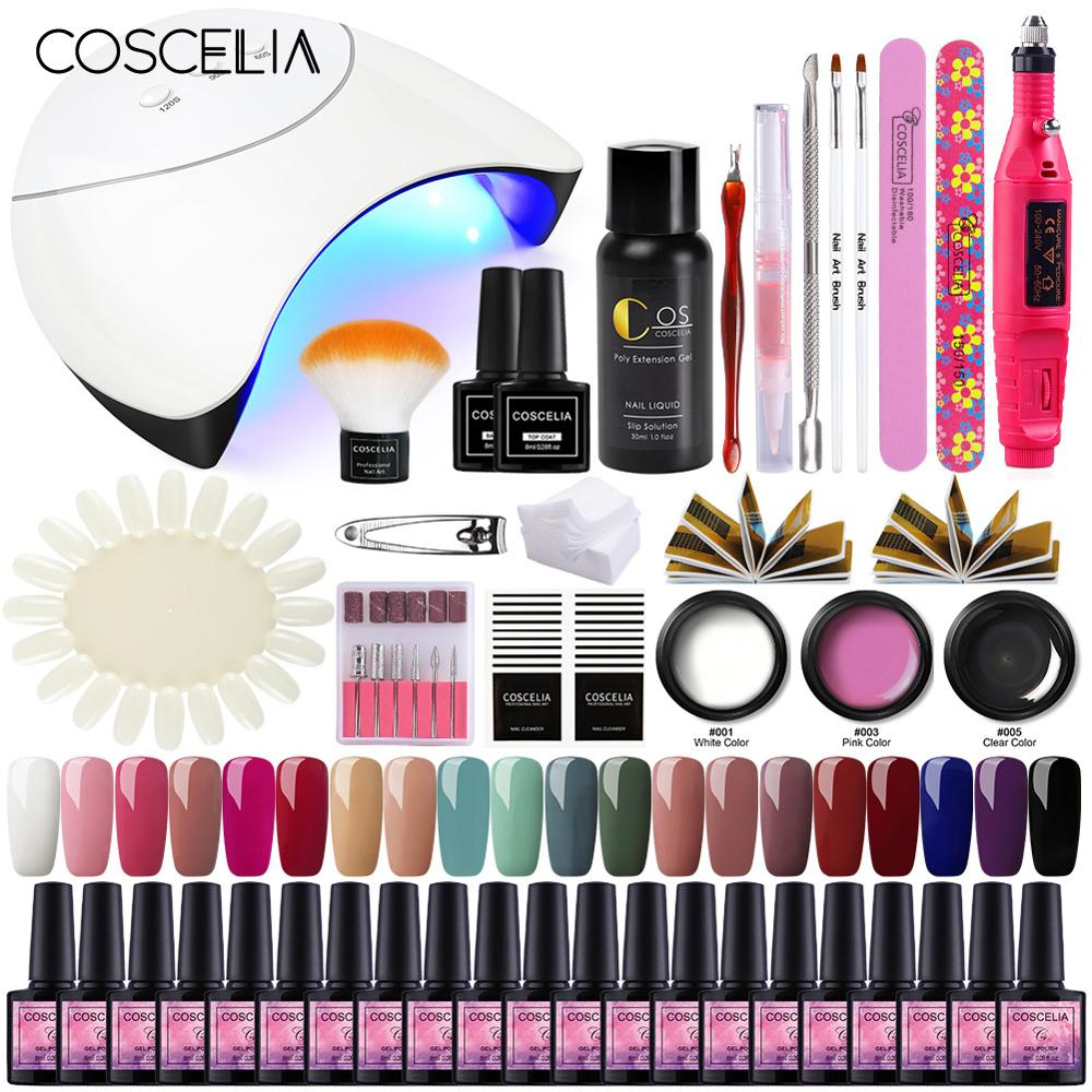 COSCELIA UV Gel Nail Polish For Nail Extension Set Semi Permanant Soak Off Gel Varnish For Nail Art Kit Nails Manicure Tools