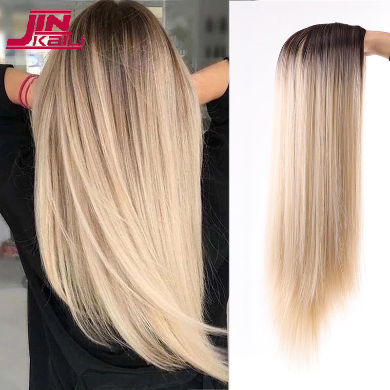 JINKAILI Long Straight Synthetic Wig Mixed Brown And Blonde Long Wigs For White /Black Women Middle Part Nature Wigs