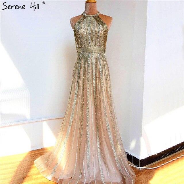 Dubaj złoto bez rękawów Sexy line suknie wieczorowe 2020 diamentowe koralikowe frędzelki formalna sukienka Serene Hill LA70357