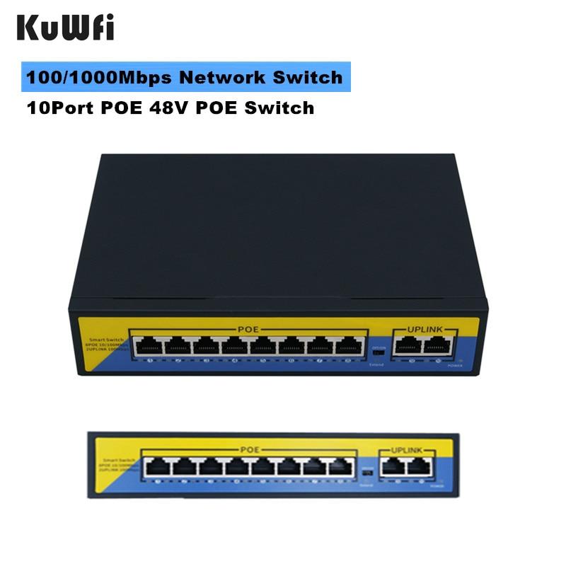 POE Switch 100/1000mbps Ethernet Switch 10Port 48V Gigabit Switcher RJ45 Hub 8Port POE + 2Port Uplink Distance 10-50m