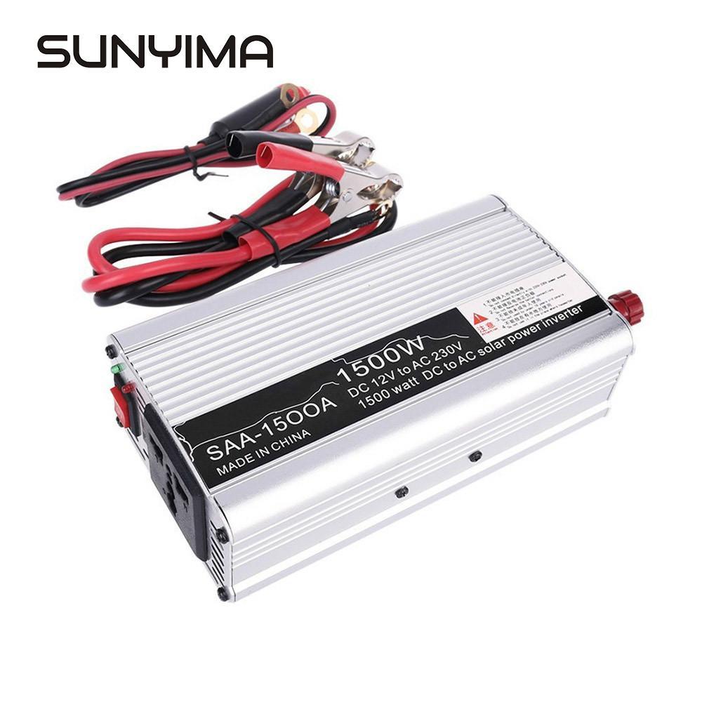 SUNYIMA falownik samochodowy zmodyfikowany sinusoida 1500W DC 12V do AC 110V 220V konwerter mocy samochodu karta z ładowarką USB dom DIY
