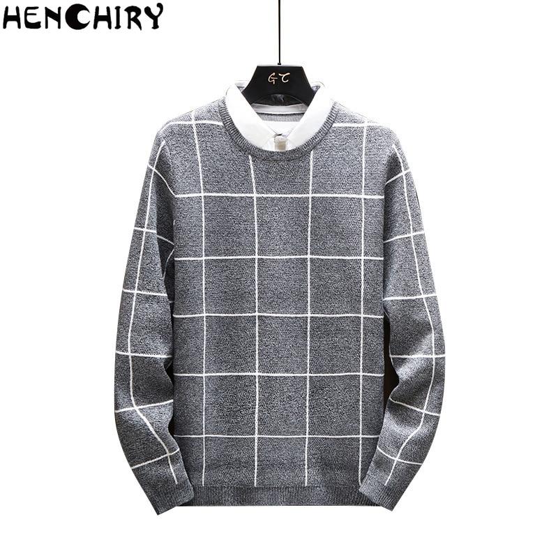 HENCHIRY New Autumn Winter Oversized Men'S Sweater 2019 Sweaters For Men Sweater Men Lattice Casual Men's Slim Fit Brand Knitted