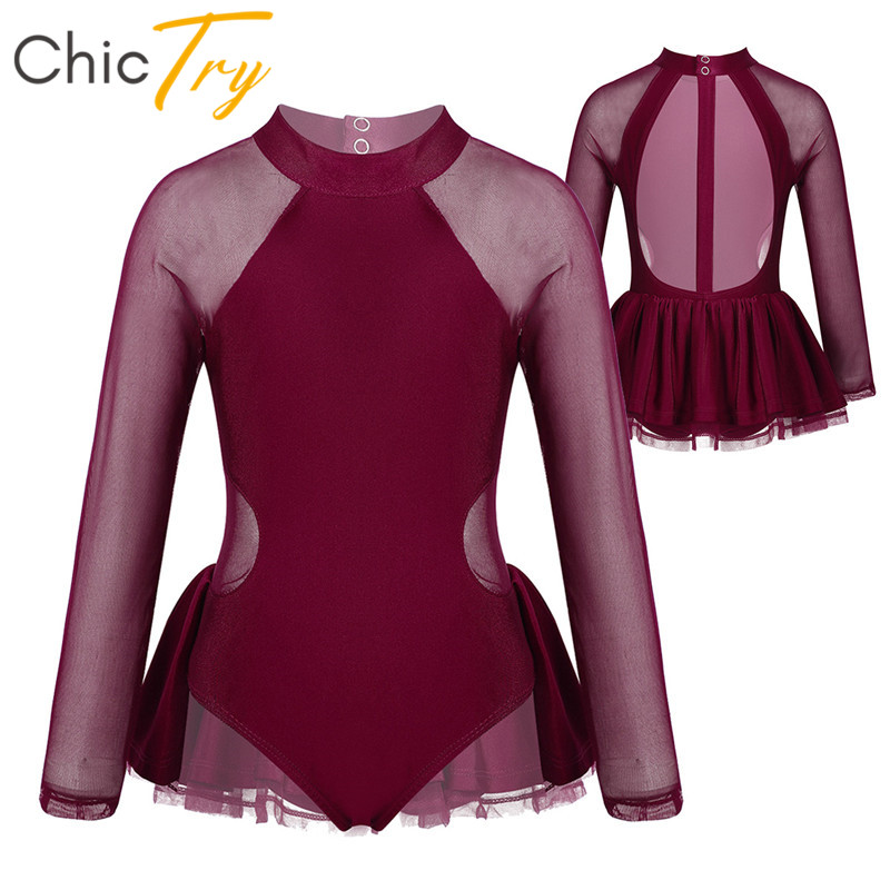 ChicTry Kids Girls Long Sleeves Sheer Tulle Figure Skating Dress Competition Performance Dance Costume Ballet Gymnastics Leotard