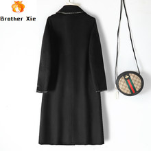 2020 winter new double-sided cashmere coat women's medium and long thickened black small fragrant wool coat high end(China)