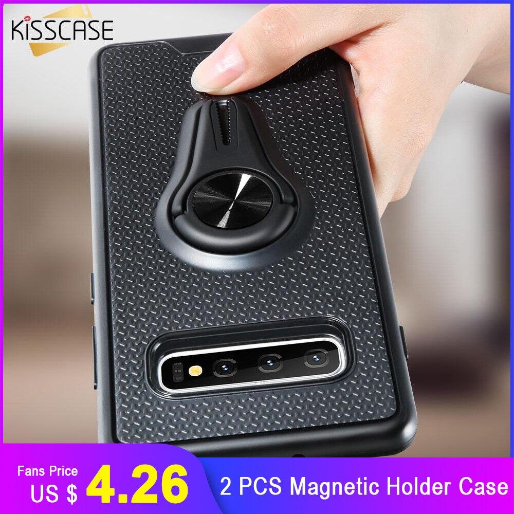 KISSCASE 2 PCS Magnetic Car Mount Holder Case For Samsung Galaxy Note 10 Plus 10 9 8 S10 Plus S10e S10 S9 Plus S9 S8 A70 A50 A30