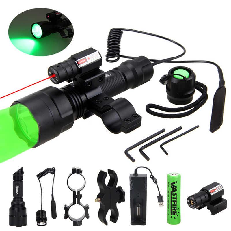 C8 XM-L Q5 linterna táctica de caza, linterna para Rifle, luz de Armas + Vista de punto láser + interruptor + montaje de barril de carril de 2*20mm + 18650 + cargador