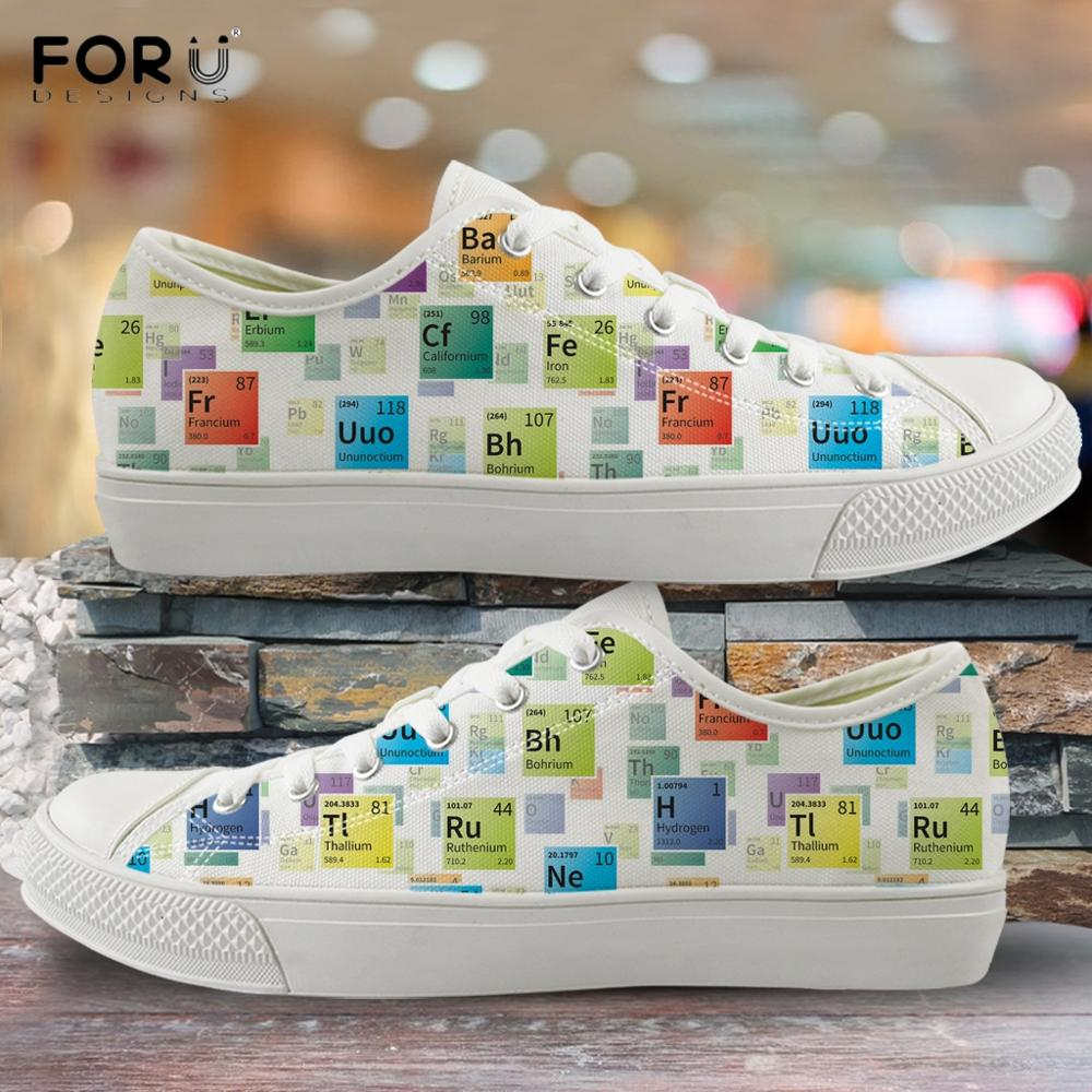 FORUDESIGNS Periodic Table Of Elements Print Students Low Top Canvas Shoes Light Spring/Autumn Lace Up Sneakers Vulcanized Shoes