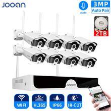 Grabador de sistema inalámbrico CCTV NVR de 8 canales, 1T, 2T, 3MP, IR CUT, cámara IP para exteriores, sistema de seguridad, Kit de Audio, videovigilancia H.265