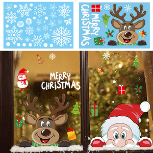 Christmas Window Decal Santa Claus Snowflake Stickers Winter Wall Stickers for Kids Rooms New Year Christmas Window Decorations