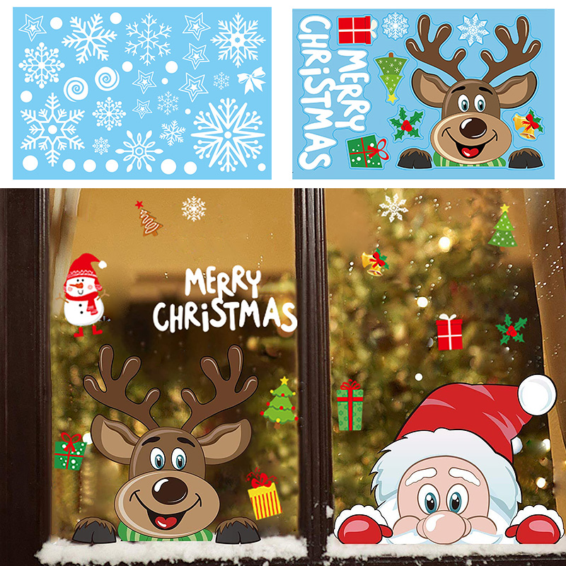 Christmas Window Stickers Merry Christmas Decorations For Home Christmas Wall Sticker Kids Room Wall Decals New Year 2021