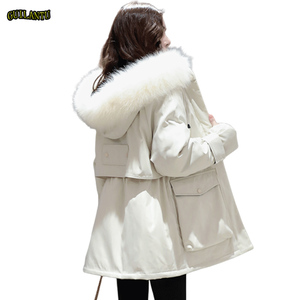 Image 2 - Plus Size Oversized Winter Down Cotton Padded Jacket Women Thick Warm Long Parka Mujer 2019 Big Fur Collar Hooded Coat Female