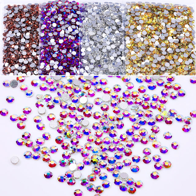 1440 PCS/Bag Mixed-Size Nail Rhinestone Round Flat back Crystals Manicure Colorful Nail Art Rhinestones DIY 3D Nail Art Decor