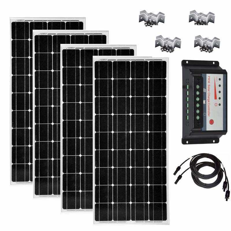 Zestaw solarny 100w 200w 300w 400w Panel słoneczny 100w 18v ładowarka solarna regulator ładowania słonecznego 12 v/24 v 30W kabel pv Z uchwytem