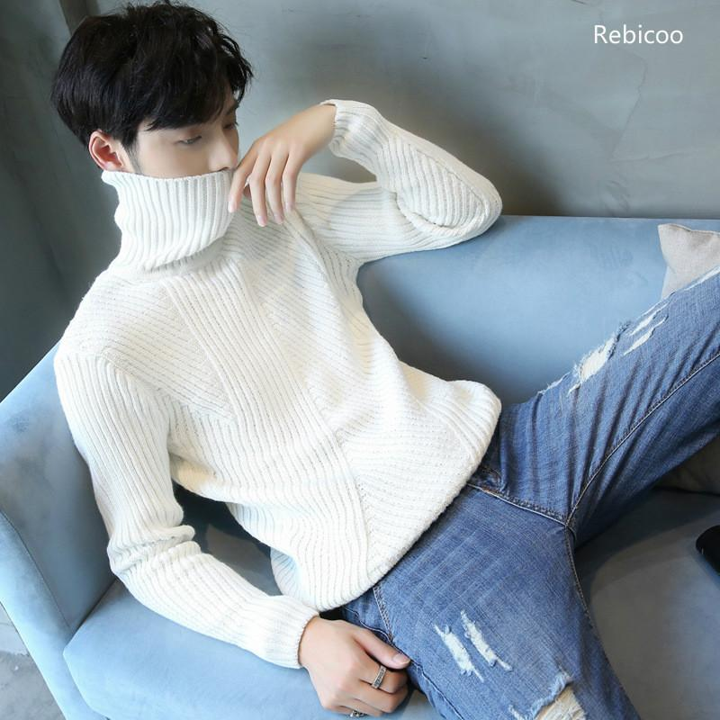 Thick Turtleneck Sweaters Men Slimming Korean Pure Color Knitted Sweaters Teenagers