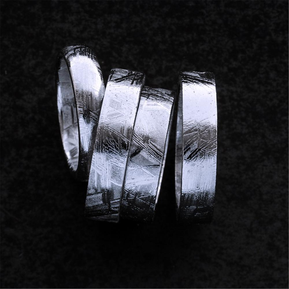 Genuine Natural Gibeon Iron Meteorite Fashion Ring Silver Plated Jewelry Wedding Rings Women Men Size 6 7 8 9 10 11 12 AAAAA(China)