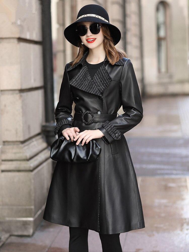 Leather Genuine Jacket Autumn Jacket Women Sheepskin Coat Female Elegant Fashion Long Windbreaker Chaqueta Mujer 19D0010