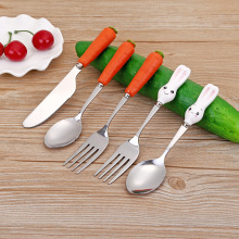 Cutlery-Set Table-Supplies Meal-Spoon Feeding-Fork Cute-Handle Stainless-Steel Children