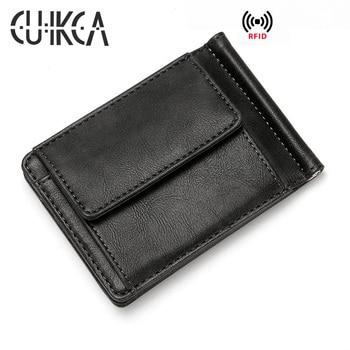 цена на CUIKCA Unisex Rfid Wallet Women Men Metal Clip Wallet Leather Card Holder Business ID Credit Card Cases Travel Wallet