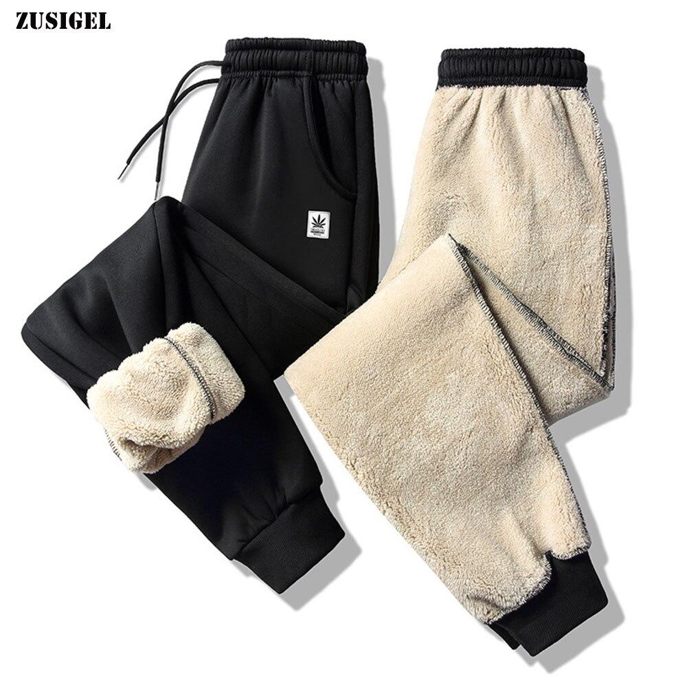 ZUSIGEL Plus Size Winter Pants Cashmere Thicken Fleece Casual Mens Sweat Pants Drawstring Outdoor Sport Warm Men's Pants Trouser