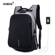 KUBUG 15.6 inch Laptop Backpack Customs Lock Anti-thief USB Charge Business Bagpack Waterproof Travel Mochila Bag